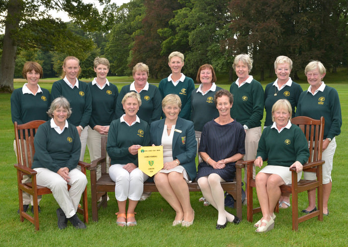 Mary Culliton (Board Member, ILGU) presenting Sylvia Heggie (Lady Captain, Rathfarnham Golf Club) with the Leinster Region pennant after their victory in the 2015 Miele All Ireland Fourball Regional Finals at Tullamore. Also in the picture in front (from left) are Carol Loftus, Margaret Crerar (Miele Ireland) and Roz Burgess. At back (from left) Karen White (Manager), Miriam Doyle, Carol Cahill, Sandra Gray, Lynda Keartland, Jane Jones, Christine Richardson, Siobhan Cullen and Riorach Donlon (President, Rathfarnham Golf Club). Picture by Pat Cashman