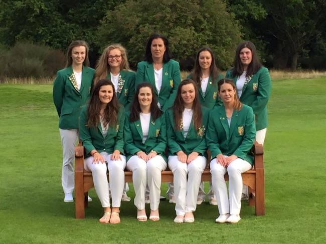 Back row - (L-R) Julie McCarthy (Forrest Little), Annabel Wilson (Lurgan), Sinead Keane (Team Captain), Sara Helly (Enniscrone), Niamh McSherry (Lurgan). Front row (L-R) Olivia Mahaffey (Royal County Down Ladies), Paula Grant (Lisburn), Chloe Ryan (Castletroy), Maria Dunne (Skerries).