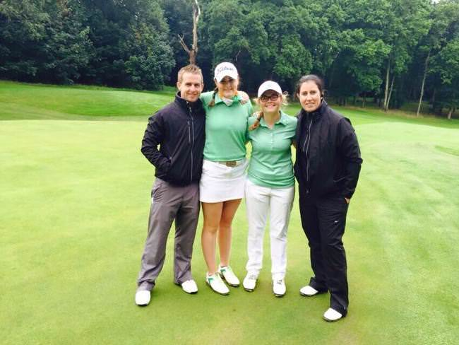 Donal Scott, Olivia Mehaffey, Annabel Wilson and Sinead Keane at Royal Wimbledon on day one of the Women's Home Internationals. Picture: Irish Ladies Golf Union