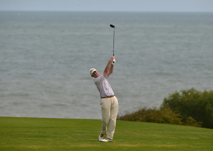 John O' Donoghue (Tipperary) driving at the 18th green in the 2015 Leinster Veterans Amateur Open Championship at Seafield. Picture by  Pat Cashman
