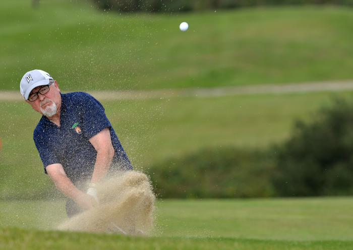 Sean McNamara (Killorglin) bunkered at the 17th green in the 2015 Leinster Veterans Amateur Open Championship. Picture by  Pat Cashman
