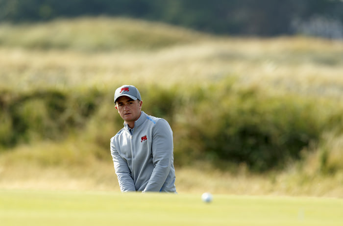 Paul Dunne watches a pitch shot on the fifth hole during a practice round ahead of the 2015 Walker Cup at Royal Lytham & St. Annes G.C. in Lytham St Annes, Lancashire on Friday, Sept. 11, 2015.  (Copyright USGA/Chris Keane)