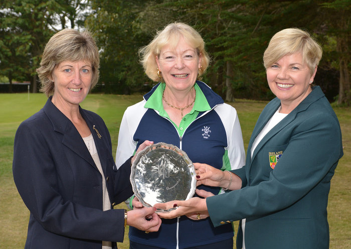 Anne O'Sullivan (Board Member, ILGU) presenting Marilyn Henderson (Royal Belfast) with the 2015 Irish Senior Women's Open Strokeplay trophy after her victory at Rosslare Golf Club. Also in the picture is Joan Wallace (Lady Captain, Rosslare Golf Club).Picture by Pat Cashman
