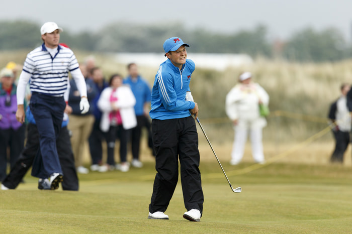Jack mcdonald watches his approach shot on the third hole during the morning foursomes matches of the 2015 Walker Cup at Royal Lytham & St. Annes G.C. in Lytham St Annes, Lancashire on Saturday, Sept. 12, 2015.  (Copyright USGA/Chris Keane)