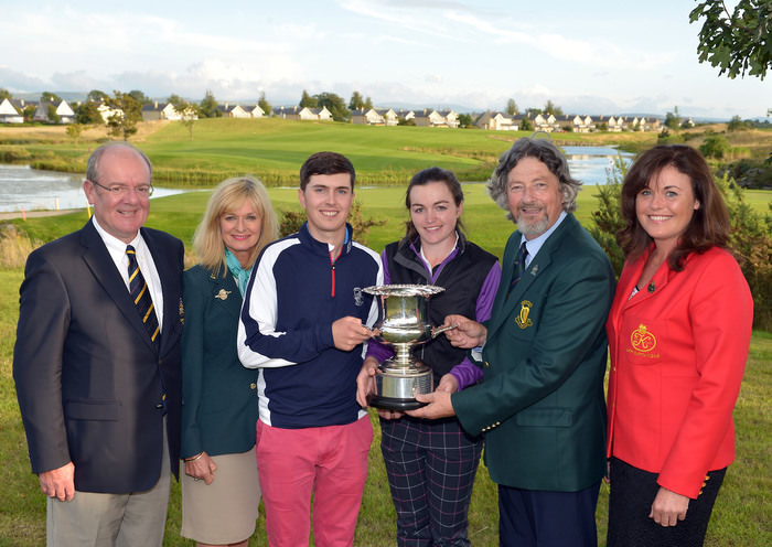 Henry Lee (Leinster Golf, GUI) presenting the 2015 East of Ireland Mixed Foursomes Championship trophy to Chloe Ryan (Castletroy) and Andrew McCormack (Newcastle West) after their victory at The K Club . Also pictured, David Coyle (Captain, The K Club), Liz Carton (ILGU) and Liz Brady (Lady Captain, The K Club). Picture by Pat Cashman