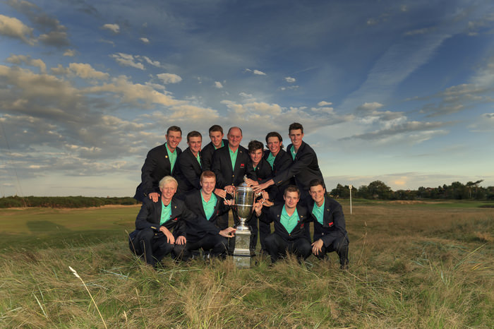 The GB&I players pose with the trophy during an afternoon singles match at the 2015 Walker Cup at Royal Lytham & St. Annes G.C. in Lytham St Annes, Lancashire on Sunday, Sept. 13, 2015.  (Copyright USGA/John Mummert)