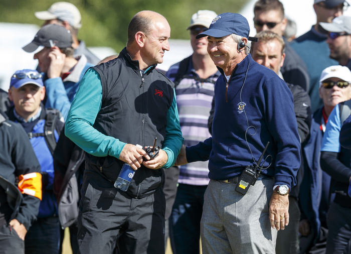 GB&I Captain Nigel Edwards and USA Captain Spider Miller on the 18th hole during a morning foursomes match at the 2015 Walker Cup at Royal Lytham & St. Annes G.C. in Lytham St Annes, Lancashire on Sunday, Sept. 13, 2015.  (Copyright USGA/John Mummert)