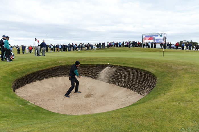 Gary Hurley plays from a greenside bunker on the sixth hole during a morning foursomes match at the 2015 Walker Cup at Royal Lytham & St. Annes G.C. in Lytham St Annes, Lancashire on Sunday, Sept. 13, 2015.  (Copyright USGA/John Mummert)