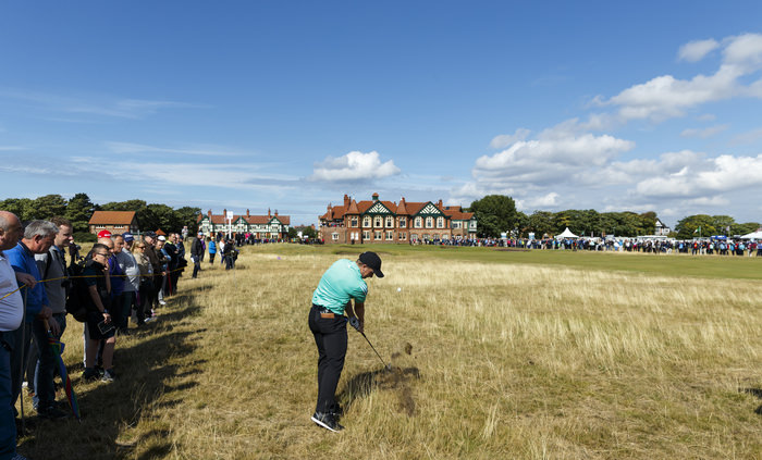 Paul Dunne plays his second shot on the 18th hole during a morning foursomes match at the 2015 Walker Cup at Royal Lytham & St. Annes G.C. in Lytham St Annes, Lancashire on Sunday, Sept. 13, 2015.  (Copyright USGA/John Mummert)