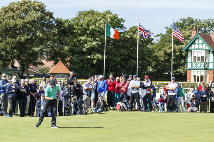 Paul Dunne reacts to his made putt on the 18th hole during a morning foursomes match at the 2015 Walker Cup at Royal Lytham & St. Annes G.C. in Lytham St Annes, Lancashire on Sunday, Sept. 13, 2015.  (Copyright USGA/John Mummert)