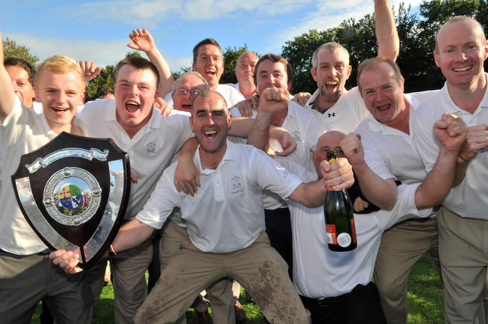 Killorglin Golf Club Captain, Joe Kennedy celebrates victory in the AIG Jimmy Bruen Shield ;last year. Picture by  Pat Cashman