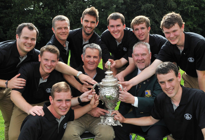 County Sligo Senior Cup winner.......Terry Brady (Captain, Co Sligo Golf Club) and Tom Ford (Team Manager) pictured with the Co Sligo Senior Cup team after their victory at the GUI All Ireland AIG sponsored Cups & Shield National Finals in 2013. Also in the picture are Garth McManus, Gary McDermott, Declan Reidy, Shane Underwood, Mark Morrissey, Steffan O'Hara, Sean Flanagan, David Brady and Steven Brady. Picture by Pat Cashman