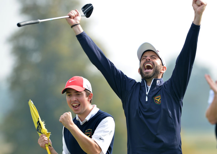 Dave O'Donovan (Muskerry) celebrate their win on the 18th green to clinch victory in the final of the AIG Barton Shield at Carton House today (18/09/2014). Picture by Pat Cashman