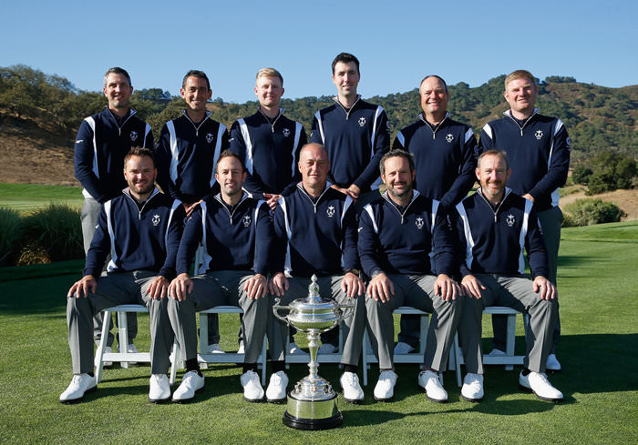 SAN MARTIN, CA - SEPTEMBER 16:  Captain Jon Bevan poses with his Great Britain & Ireland team prior to the start of the 27th PGA Cup at CordeValle on September 16, 2015 in San Martin, California.  (Photo by Scott Halleran/Getty Images)