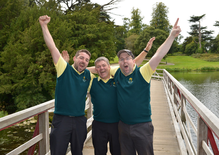Quigley Triple winners........Thurles Golf Club Pierce Purcell team members (from left) Shane, Tommy (father) and Stephen Quigley celebrate on the bridge at the 16th hole after winning their match and the AIG Pierce Purcell Shield over Gort Golf Club at Carton House Golf Resort. Picture by  Pat Cashman