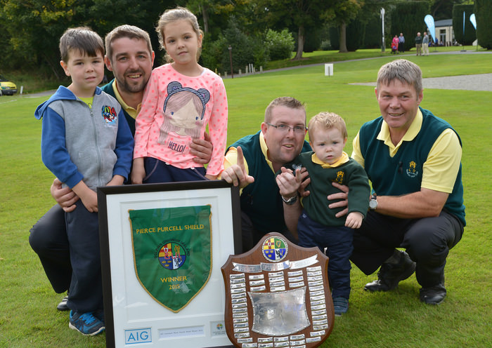 Pierce Purcell team members Shane and Stephen Quigley with their children Cole (5), Pippa (7), Christopher (18 months) and their father Tommy Quigley after winning the AIG Pierce Purcell Shield  at Carton House. Picture by  Pat Cashman