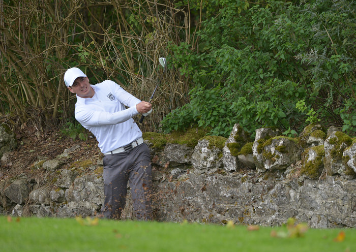 Colin Fairweather (Knock) playing his second shot to the 17th hole during the semi final of the AIG Senior Cup at Carton Hous. Picture by  Pat Cashman