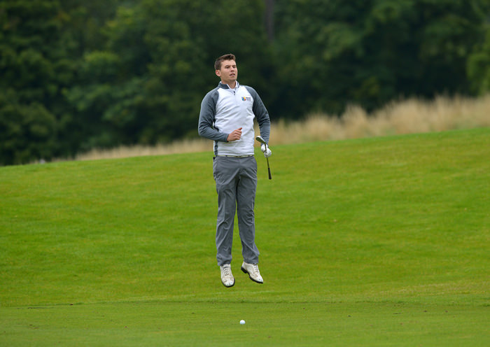 Jack Walsh (Maynooth) jumping to see the pin at the 9th green during the sem final of the AIG Senior Cup at Carton House. Picture by  Pat Cashman