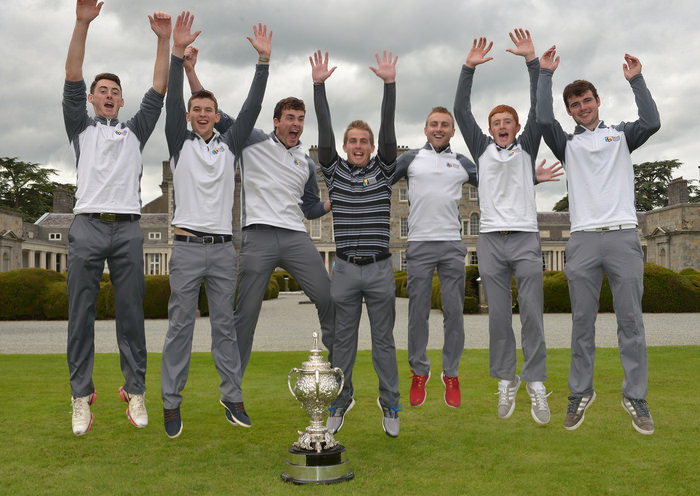 Maynooth University Senior Cup team (from left) Stephen Kinch, Jack Walsh, Kyle McCarron, Donal Scott (coach), Declan Loftus, Ronan Mullarney and Jake Whelan after their victory in the AIG Senior Cup Final at Carton House Golf Club. Picture by  Pat Cashman