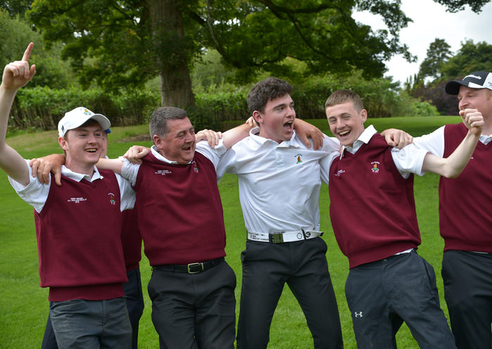 Ballybunion celebrate on the 15th green victory in the AIG Jimmy Bruen Shield Final at Carton House Golf Club today (19/09/2015). Picture by  Pat Cashman