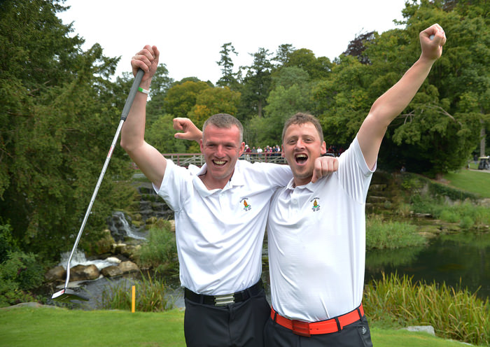 Brian Slattery and Adrian Walsh (Ballybunion) celebrates winning their match and the AIG Jimmy Bruen Shield Final on the 15th green at Carton House. Picture by  Pat Cashman