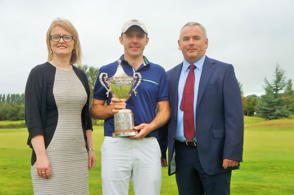 Paula Collins, Hilton Hotel Manager; 2014 UIster Championship winner Colm Moriarty and Adrian Byrne, Managing Director, HBE Risk Management