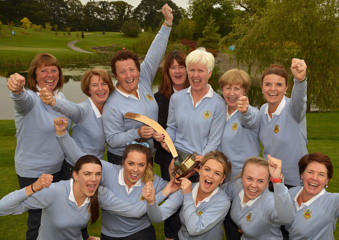 Castle Ladies Senior Foursomes team at back (from left) Carina Staunton, Martha Jones, Sinead Heraty, Margaret McConville (Lady Captain, Castle GC), Avril Haughton (Team Manager), Claire O'Donoghue (Assistant Team Manager) and Joanne Smyth. In front (from left) Aedin Murphy, Amy Jones, Sally Lenehan, Ruth Keating and Siobhan McCarthy after their victory at the 2015 AIG Ladies Cups and Shields Finals at Knightsbrook (25/09/2015) . Picture by  Pat Cashman