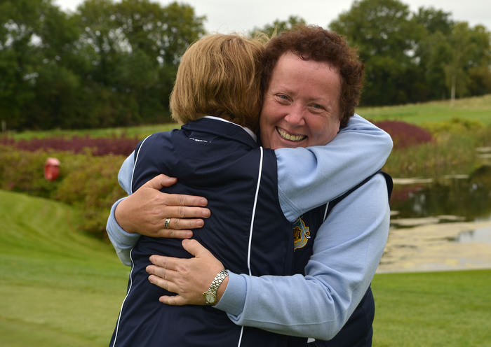 Sinead Heraty and Martha Jones (Castle) celebrate on the 15th green victory in the Senior Foursomes Final at the 2015 AIG Ladies Cups and Shields Finals at Knightsbrook Golf Club(25/09/2015). Picture by Pat Cashman