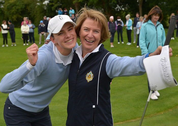 Aedin Murphy and Martha Jones (Castle) celebrate on the 15th green their victory in the Senior Foursomes Final at the 2015 AIG Ladies Cups and Shields Finals. Picture by Pat Cashman