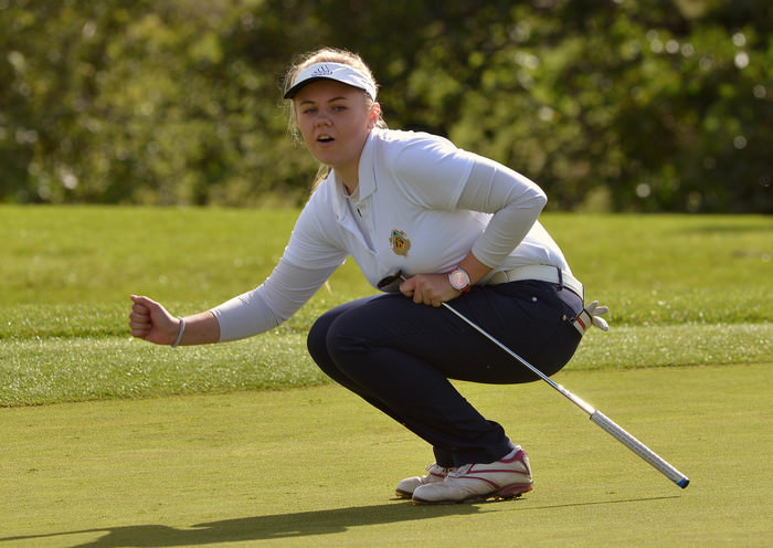 Ruth Keating (Castle) reacts to a missed putt on the 3rd green in the Senior Foursomes Final. Picture by  Pat Cashman