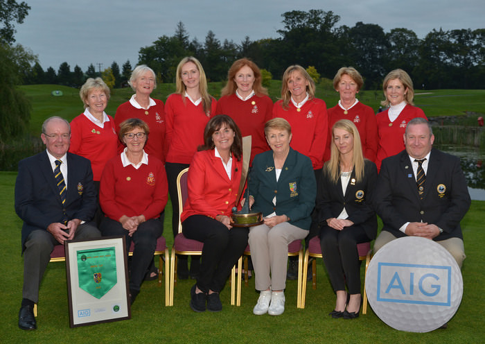 Valerie Hassett (President, ILGU) with the KClub Team winners of the Minor Cup at the 2015 AIG Ladies Cups and Shields Finals. Picture by Pat Cashman