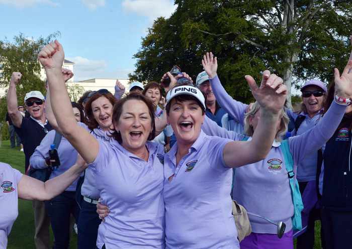 Bridie McNamara and Tara Cunningham (Bearna) celebrate their victory on the 18th green to clinch the AIG Junior Foursomes at the 2015 AIG Ladies Cups and Shields Finals at Knightsbrook Golf Club today (26/09/2015) . Picture by  Pat Cashman