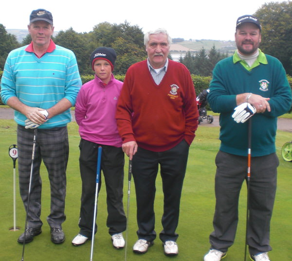New members of the North Western Golfing Alliance: Olympic Gold medallist, Oliver Doherty, Buncrana, (right) and Ulster Boys champion Jack Duffy, North West GC. Also pictured, veteran member James Doherty and newcomer Hugh Doherty.