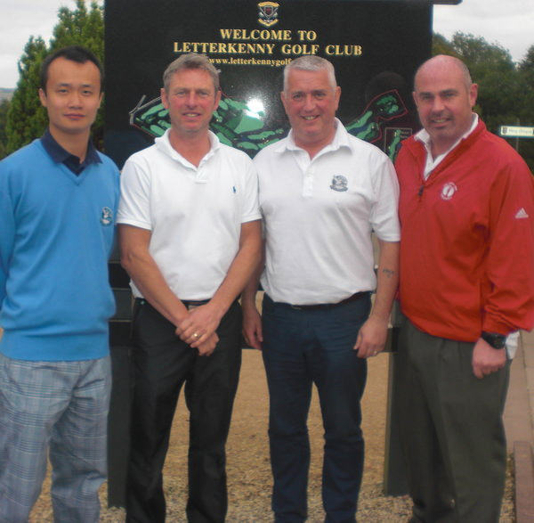 Alliance Captain David Forbes, (second from left), with his fourball at Letterkenny.