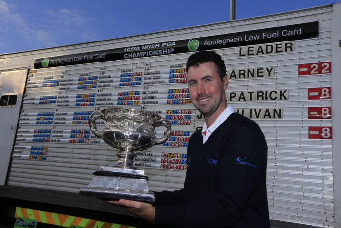 Niall Kearney won the 2015 Irish PGA by 14 strokes with a record, 22 under par total at Dundalk.  Picture ©  www.golffile.ie