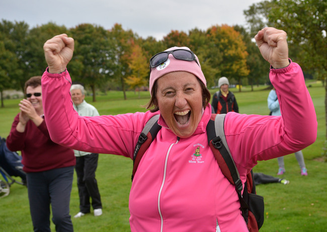 A Ballybunion supporter celebrates their victory at the 2015 Miele All Ireland Fourball Final at Newlands Golf Club. Picture by Pat Cashman