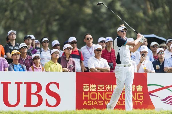 Ian Poulter in Hong Kong on Thursday. Picture: Getty Images