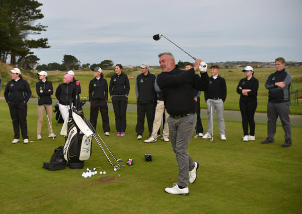 Ryder Cup Captain Darren Clarke giving a clinic at the Darren Clarke Foundation Champions of Champions Weekend at Portmarnock Golf Club. (25/10/2015). Picture by  Pat Cashman
