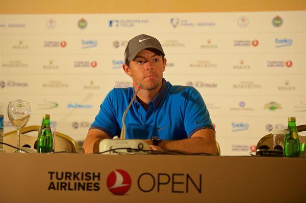Rory McIlroy during the preview press conference at the Maxx Royal Hotel in Antalya