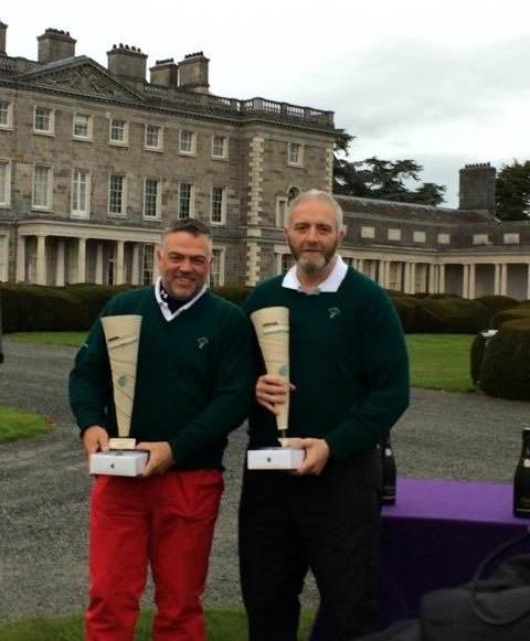 Andrew Cooke and Vernon Devane of Kerry with their 2015 Irish Open Matchplay Fourball champions trophies at Carton House
