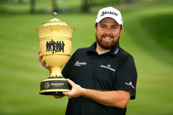 Shane Lowry with the WGC-Bridgestone Invitational trophy. Picture/Getty