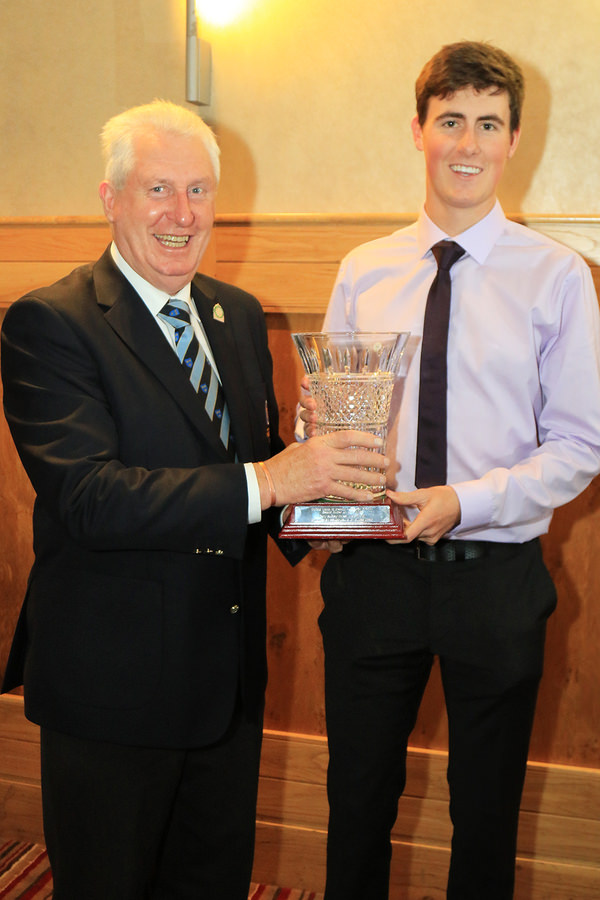 Mr John Moloughney, Chairman Munster Branch GUI presenting Gary Hurley (West Waterford) with the Munster Senior Golfer of the Year Award. 24th Nov 2015, Munster Branch GUI Annual Delegates Meeting. Picture: Niall O'Shea