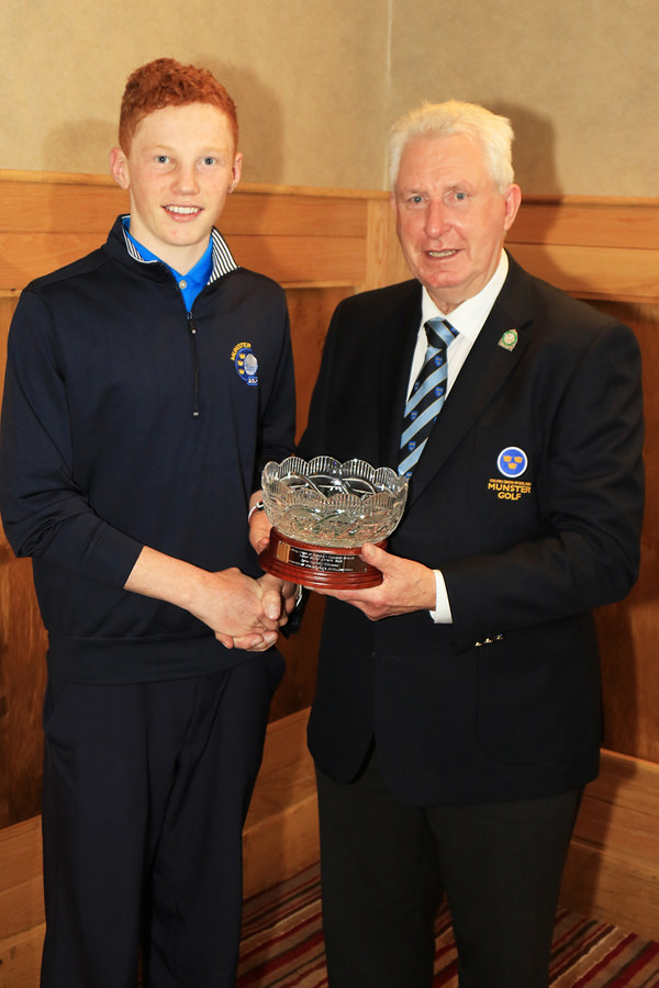Mr John Moloughney, Chairman Munster Branch GUI presenting John Murphy (Kinsale) with the Munster Junior Golfer of the Year Award.  24th Nov 2015, Munster Branch GUI Annual Delegates Meeting. Picture: Niall O'Shea