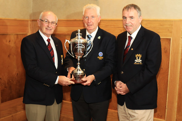 Michael John Roche and JJ Sheehan from East Cork Golf Club presenting John Moloughney, Munster Branch GUI with the Michael Cashman Trophy which will be played for in the Munster Club Fourball competition next season.  The trophy was presented in honour of former Munster Branch Chairman and East Cork member. Picture: Niall O'Shea