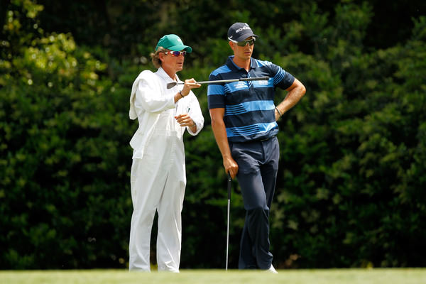 Jude O'Reilly and Henrik Stenson during the first round of the Masters Tournament at Augusta National in 2012