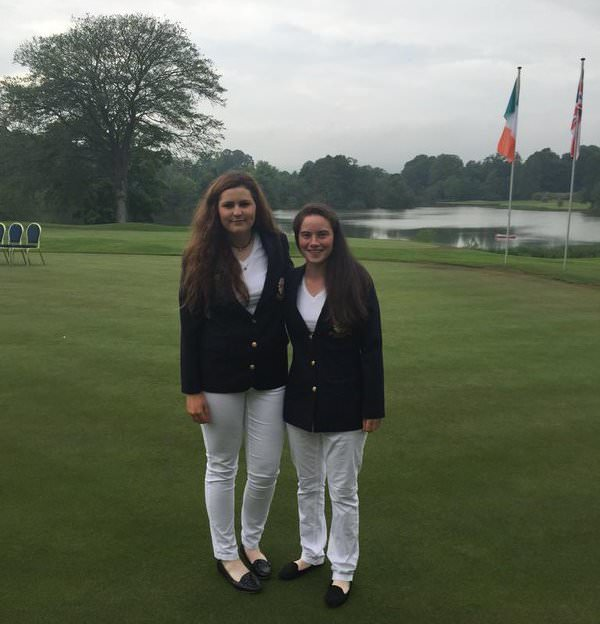 Olivia Mehaffey and Leona Maguire in action for Ireland earlier this year.