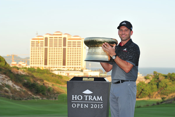 Ho Tram, Vietnam. Sergio Garcia of Spain with the Ho Tram Open trophy. Photo by Khalid Redza/ Asiantour