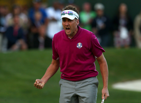Ian Poulter celebrates in the Ryder Cup. Picture: Getty Images