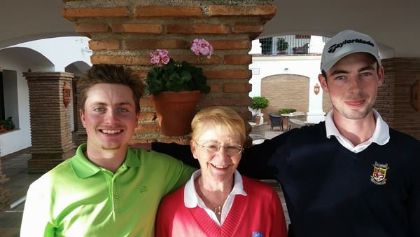 David Carey (left) and Killarney's Tommy O'Driscoll pictured with the President of the Alps Tour, Waltraud Neuwirth, at La Cala on Wednesday.