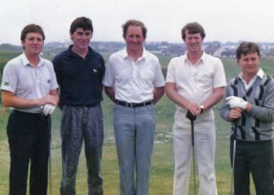 DES SMYTH, ROBERT LEE, BOBBY BROWNE, DECLAN BRANIGAN AND IAN WOOSNAM, 1986. (CLICK TO EXPAND)